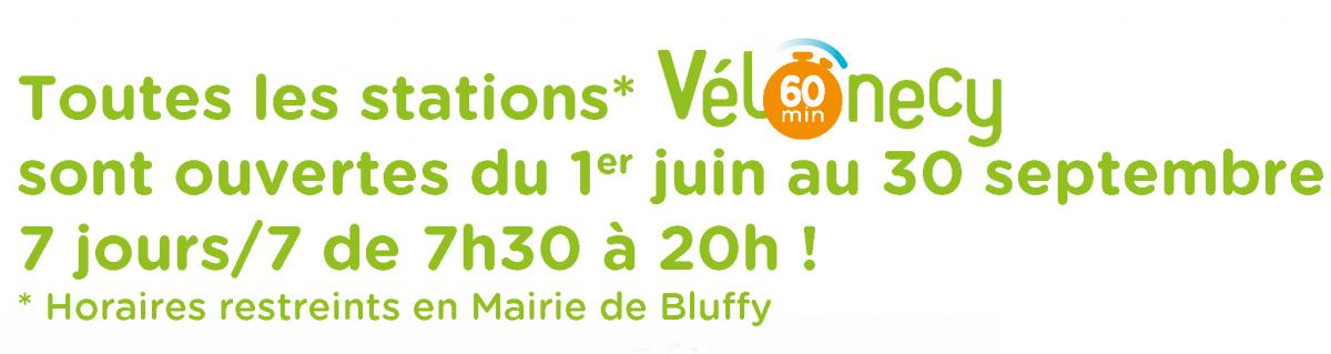 Horaires ouvertures stations Vélonecy 60 minutes