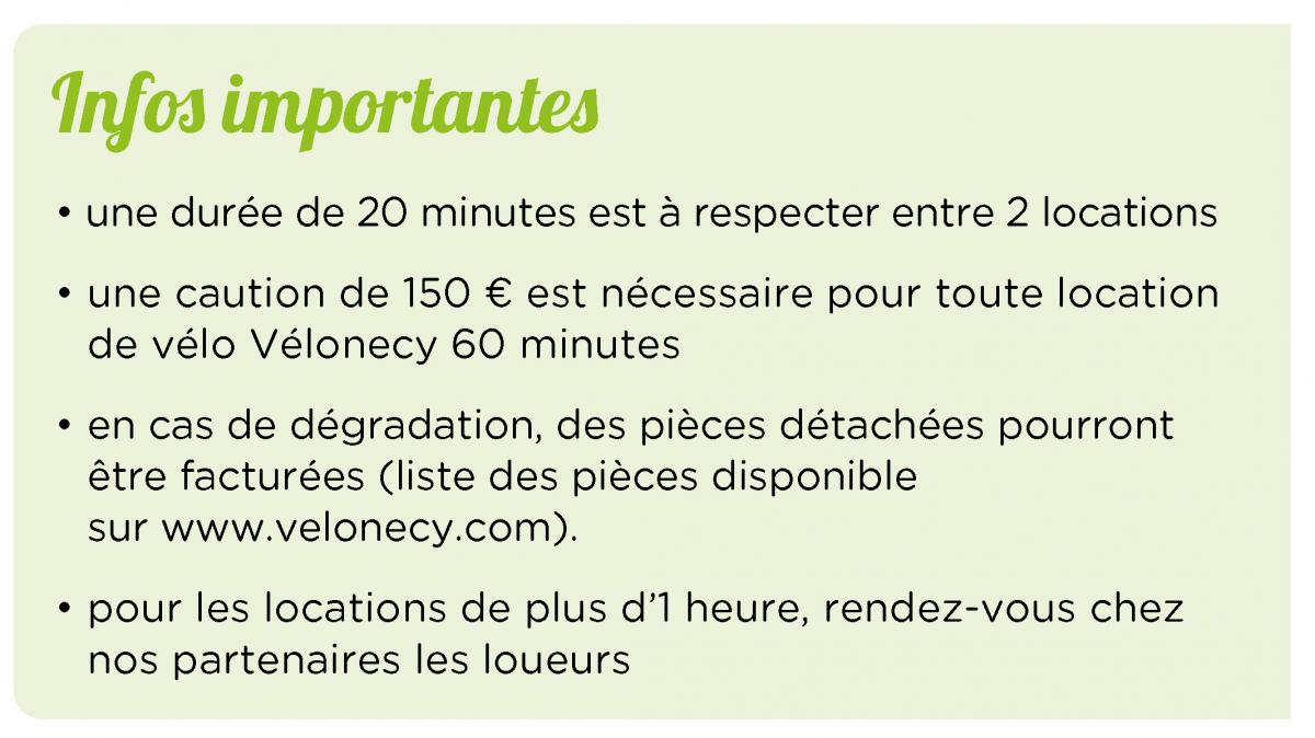 Informations importantes - Vélonecy 60 minutes
